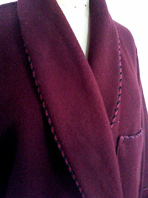 "Vtg 40s JAEGER London burgundy wine Wool Bath Smoking Robe 38""/97cm"