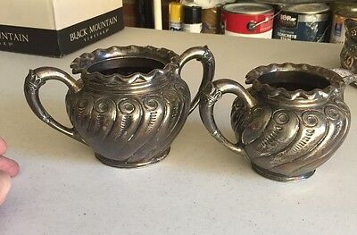 Silver plate pitcher and bowl