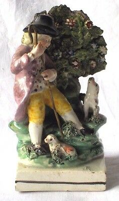 Early C19Th Enoch Wood, Staffordshire Pearlware Figure Shepherd, Lamb And Dog