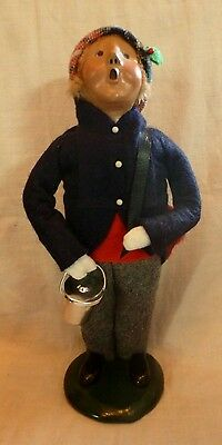 1993 BYERS CHOICE carolers School Boy with Pail Chalk Board & Note Book signed