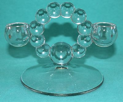 Vintage Candlewick Double Light Imperial Glass Candle Stick Holder Clear