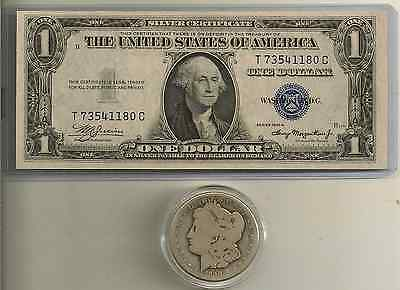 1890-CC Morgan Silver Dollar & 1935 A $1 Silver Certificate Lot of 2 u get all