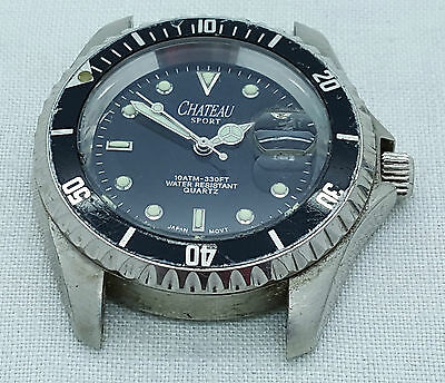 Gents CHATEAU Diver's Style Black Dial Watch – Working