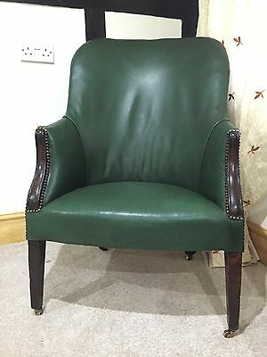 Antique 19th Century Victorian Green Leather Library Chair