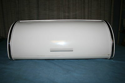 Vintage 1950s Brabantia White and Chrome Silver Metal Bread /Storage Box