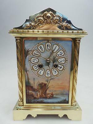 French Ormolu & Sevres 8 Day Striking Mantel Clock - 6 Pillar Design Circa 1870