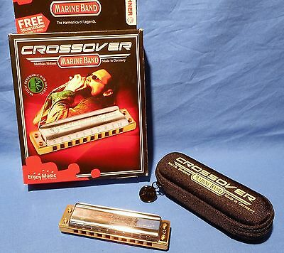 New Open Box Hohner Cross Over Marine Band Key Of F#  Harmonica