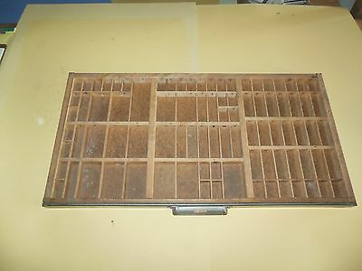 Large Antique Hamilton? Printers Type Drawer Case Shadow Box Letter Tray Wood