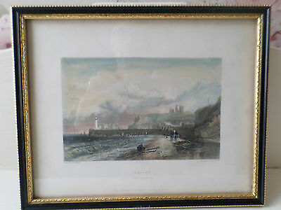 Antique Hand Coloured Print Whitby From The North West, G Balmer, E Finden