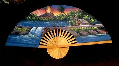 "Hawaii Waterfall & Volcano Wall Fan Hand Painted Hanging! Stunning 39.5""x 24"""