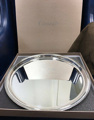 Large Silver Plated Christofle MALMAISON  Round Tray
