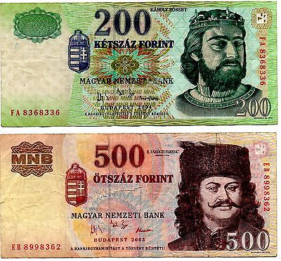 Hungary 200 & 500 Forint Notes 2003-2004 Issues V/f