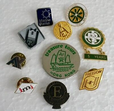 10 Piece Lot of Vintage Badges Pins MIxed