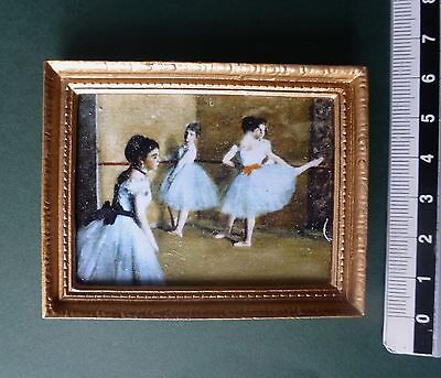 DOLLS HOUSE picture Degas BALLET DANCERS oil painting effect gold frame12th