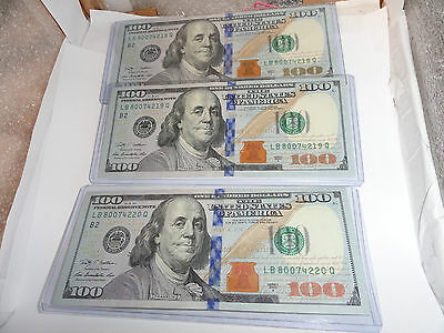 Lot of (3) 2009A Brand New UNC GEM $100 Dollar Bills Sequential - NEW YORK,NY