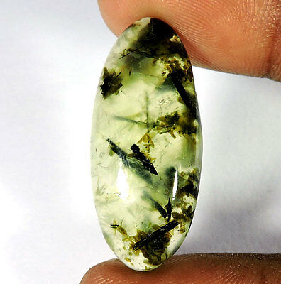 26.50Cts. 100% NATURAL FABULOUS GREEN PREHNITE OVAL CABOCHON LOOSE GEMSTONES