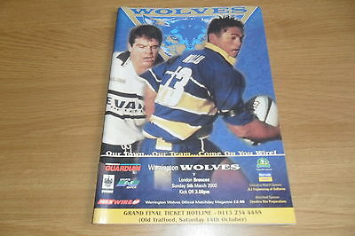 Warrington Wolves V London Broncos   Rugby League Programme 5/3/2000