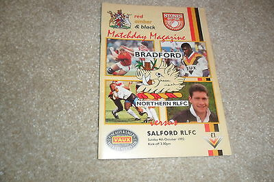 Bradford V Salford  Rugby League Programme 4/10/92