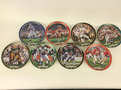 """Full Set of """"The Great Super Bowl Quarterbacks""""  collection plates XRARE"""