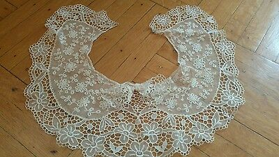 SHABBY VTG Antique net lace collar bow VICTORIAN RIBBON BOW DETAIL TAMBOUR