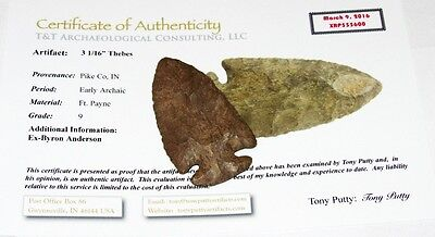 Authentic IN Indian Artifact Thebes Arrowhead Spear Point Native American w/ COA