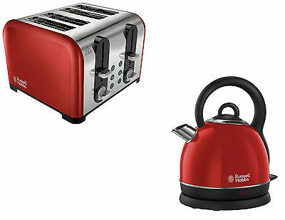 Russell Hobbs Westminster Dome Kettle And 4 Slice Toaster Set In Red
