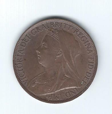 1901 Victorian Veiled Head bronze penny - HIGH GRADE WITH LUSTRE!