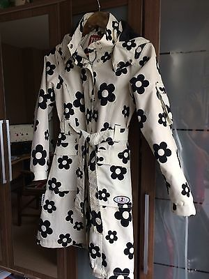 Girls Funky Waterproof Coat White With Black Flowers Age 10 140cm