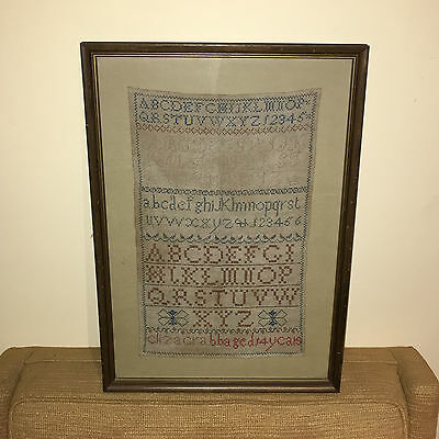 Sotheby's19th Century House & Verse Sampler, Alphabet & Folk Art Eliza Crabb