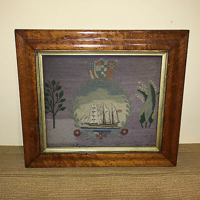 Antique 19thC British Sailor Folk Art Woolwork Wooly Embroidery Ship of the Line