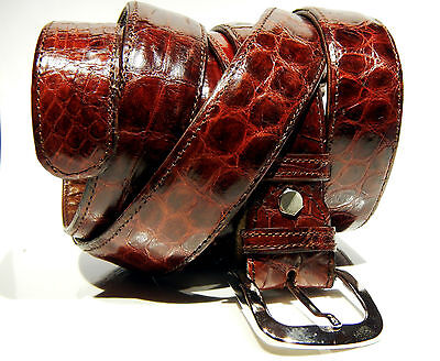 Ceinture en crocodile véritable, fabrication artisanale/Genuine crocodile belt
