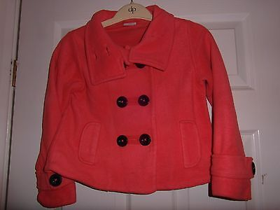 Next Girls' lined coat, coral microfleece fabric, size age 8 years /128cm