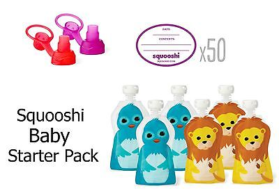 Squooshi reusable food pouches - baby starter pack