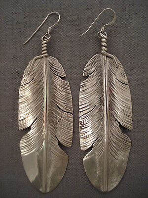Incredibly Unique Navajo Hand Carved Silver Feather Earrings
