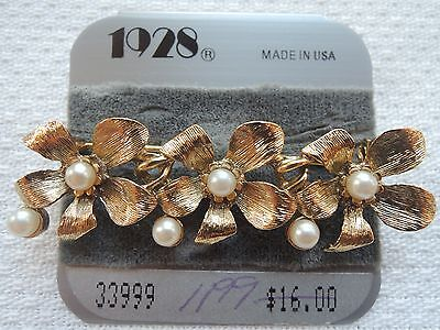 Estate 1928 Victorian Designer Gold-Tone Faux PEARL FLORAL Bar Pin/Brooch - NEW