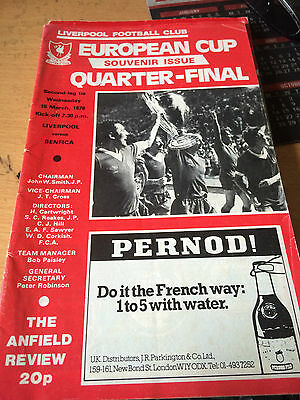 LFC In Europe. Liverpool V Benfica, 19th March 1978