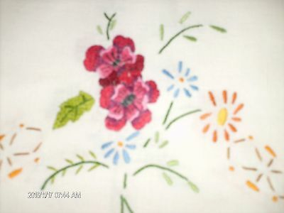 """Lovely Vintage Hand Embroidered Tablecloth  50""""  X  50"""""""