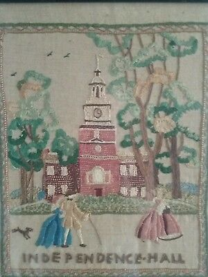 """Antique  19Th Century  American  Sampler  """"independence  Hall"""""""