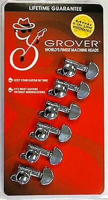 Grover 205C6 Rotomatic chrome guitar tuning pegs machine head 6 in line