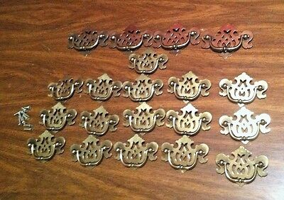 Vintage Lot of 20 matching Fancy Dresser Pulls with Bail Handles gold tone