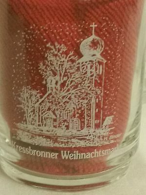 Set of (4) Four Glass Cups Etched in white * Kressbronner Weihnachtsmarkt*