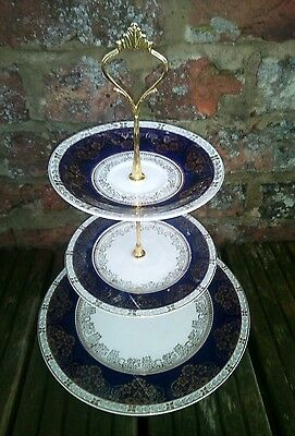 Vintage Crown Ducal Blue White Gold 3 Tier Cake Stand Christmas Gift