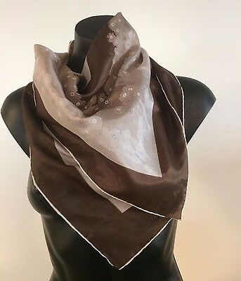 Vintage Handrolled Chinese Silk 71cm Scarf - abstract print in shades of brown