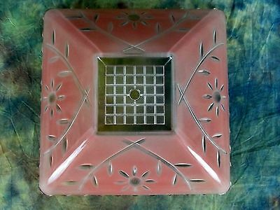 Antique Square Art Deco Pink Glass Ceiling Center Hole Light Fixture Shade