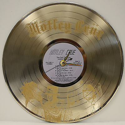 Motley Crue - Rare Laser Etched Gold LP Record Wall Clock Display USA Ships Free