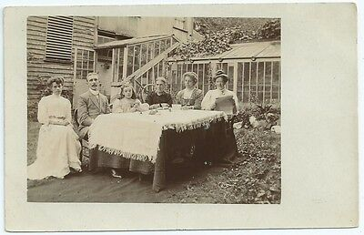 "Vintage Postcard. RP.  ""Afternoon Tea With The Vicar"".  Used 1908.  Ref:6-34"