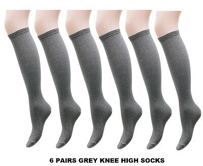 6 Pairs Grey Girls Kids Back To School Plain Knee High Long Socks Cotton HJNMK