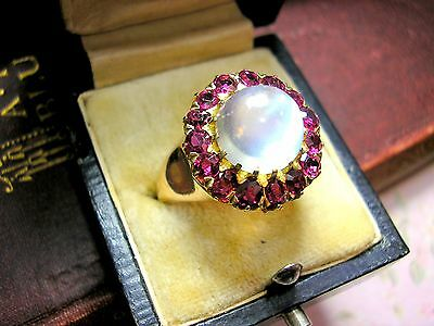 Antique Moonstone Ruby Ring 9ct Gold Vintage Art Deco Mid Century Style Cocktail