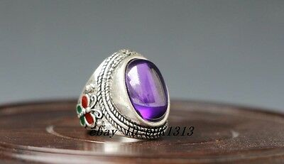 Noble Tibet-silver handwork inlay Red Zircon old cloisonne Butterfly Statue ring