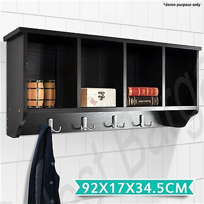 4 Compartment Wall Coat Rack Cabinet Hall Hat Stand Shelf Storage Hooks